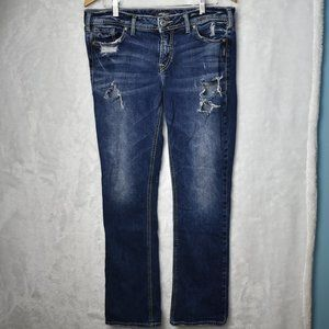 Silver Jeans Elyse Slim Boot Distressed Size 30